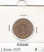ISLANDA   1 KRONA   ANNO 1929  COME DA FOTO - Islanda