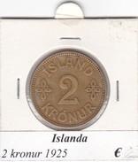 ISLANDA   2 KRONUR   ANNO 1925  COME DA FOTO - Islanda