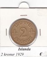 ISLANDA   2 KRONUR   ANNO 1929  COME DA FOTO - Islanda