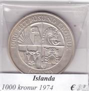 ISLANDA   1000 KRONUR   ANNO 1974  COME DA FOTO - Islanda