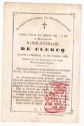 DP Image Pieuse Marie N. De Clercq † Bailleul Belle 1866 - Imprimerie De Simon Blocquel Lille - Santini
