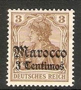 004837 Germany Offices In Morocco 1905 3c On 3pf MH - Ufficio: Marocco