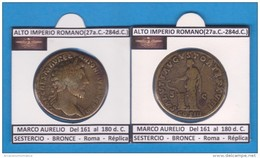Hispania MARCO AURELIO Del 161 Al 180 D.C. SESTERCIO BRONCE Roma Réplica SC    T-DL-11.756 - Monedas Falsas