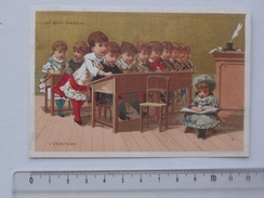CHROMO Doré AU BON MARCHE: L'Ecriture (L'Ecole Série V 17) - Fillette Salle De Classe - VALLET MINOT - Au Bon Marché