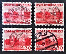 CHATEAU DE MIR 1935 - OBLITERES - YT 384 - MI 306 - VARIETES DE TEINTES ET D'OBLITERATIONS - Gebraucht
