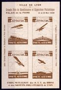"""EXPO. PHIL. LYON MAI 1931 - BLOC De 4 Vignettes** ND """"Poste Aérienne"""" - Erinnophilie"""