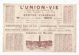 Calendrier , Grand Format , L'UNION - VIE , 1928 , Frais Fr : 1.55 Euros - Calendriers