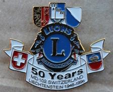 LIONS INTERNATIONNAL - 50 YEARS MD 102 SWITZERLAND - LIECHTENSTEIN 1948 / 1998  -  GENEVE - GENF - ZURICH-   (JAUNE) - Vereinswesen