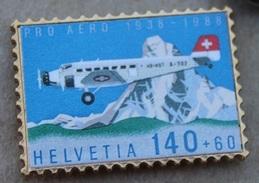 PRO AERO 1938 / 1988 - HELVETIA 140 + 60 - AVION POSTAL SUISSE - HB WDT - A 702 - TIMBRE-   (JAUNE) - Airplanes