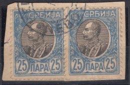 Serbia Kingdom 1905 Mi#89 X - Normal Paper, Used Pair - Serbien