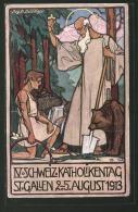 Künstler-AK St. Gallen, IV. Schweiz. Katholikentag 1913, Bogenschütze Kniet Vor Einem Heiligen - SG St. Gall