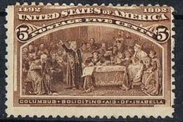 1893 5 CENT COLUMBIAN EXPOSITION ISSUE  NO GUM MH* SCOTT#234 $55,00 - Unused Stamps