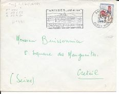 ALPES MARITIMES 06   - ANTIBES   - FLAMME N° 431  - ANTIBES ETE HIVER / SES FLEURS SON CADRE SON MUSEE  1962 - Postmark Collection (Covers)