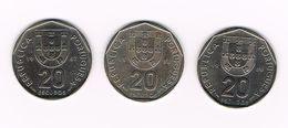 PORTUGAL 3 X 20  ESCUDOS  1987/88/89 - Portugal