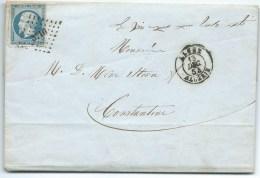 N° 14 BLEU NAPOLEON SUR LETTRE / ALGER ALGERIE POUR CONSTANTINE  / 13 DEC 1854 - Marcophilie (Lettres)
