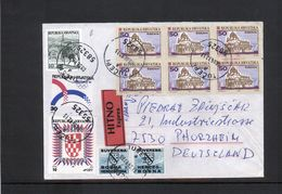 Bosnien Und Herzegowina Kroatische Post/Croat. Post Office Interesting Letter With First Privatly Issued Stamps - Bosnie-Herzegovine