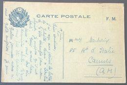 Carte De Franchise Militaire Illustrée Marianne , étoile , 6 Drapeaux , Papier Gris-vert Vers Cannes - Postmark Collection (Covers)