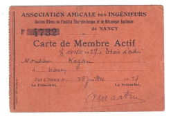 France Nancy Jewish Man Engineers Member Card 1927 - Autres Collections
