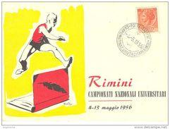 ITALIA - 1956 RIMINI Campionati Nazionali Universitari Su Cartolina Speciale Numerata - 3360 - Athlétisme