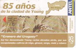 Nº 423 TARJETA DE URUGUAY DE ANTEL DE 85 AÑOS DE LA CIUDAD DE YOUNG (TREN-TRAIN-ZUG) - Uruguay