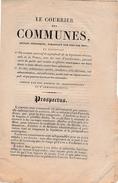 1820 - LE COURRIER Des COMMUNES - Prospectus D'abonnement - Examen De La Législation Communale Etc. - Documents Historiques
