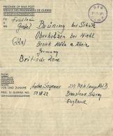 BIGLIETTO PRIGIONIERI POW CAMP 239 BANSTEAD GREAT BRITAIN 1947 OBERHOLZEN B W - Correo Militar (PM)
