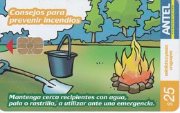Nº 427 TARJETA DE URUGUAY DE ANTEL DE CONSEJOR PARA PREVENIR INCENDIOS (CHIP BLANCO) - Uruguay
