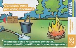 Nº 427 TARJETA DE URUGUAY DE ANTEL DE CONSEJOR PARA PREVENIR INCENDIOS (CHIP NEGRO) - Uruguay