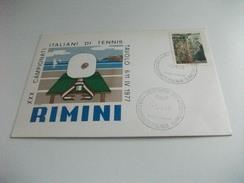 STORIA POSTALE FRANCOBOLLO COMMEMORATIVO NATALE ITALIA XXX CAMPIONATI ITALIANI DI TENNIS TAVOLO 1977 RIMINI - Table Tennis