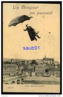 Montluçon - Un Bonjour En Passant -Surréalisme - Homme Survolant La Ville Avec Parapluie - Réf: 30581 - Montlucon