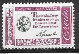 1960 4 Cents Credo - Lincoln Mint Never Hinged - Ongebruikt