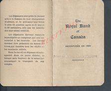 LIVRET DE BANQUE THE ROYAL BANK OF CANADA 1925/27 SUCCURSALE FORT DE FRANCE MARTINIQUE 10 PAGES : - Canada