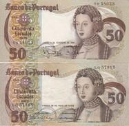 PORTUGAL BANKNOTES - X 2 - TWO DATES - 50 ESCUDOS - 1968 - 1980  - INFANTA D. MARIA - Portugal