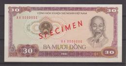 VIETNAM BANKNOTE 30 Dông Type 1981- AA000000 SPECIMEN AU   Ref M333 - Vietnam