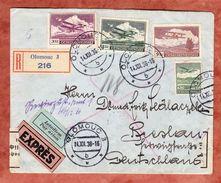 Luftpost, Expres, Einschreiben Reco, MiF Flugzeug, Olomouc Nach Breslau, Devisenzensur, 1936 (38897) - Czechoslovakia