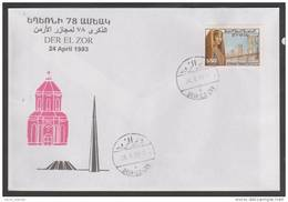 Armenia,Syria,Memory 78 Years Of Armenian Genocide,24 April 1993,Der El Zor,FDC. - Arménie
