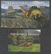 ST. KITTS, 1998, MNH, PREHISTORIC FAUNA, DINOSAURS, MOUNTAINS, SHEETLET+ S/SHEET - Stamps
