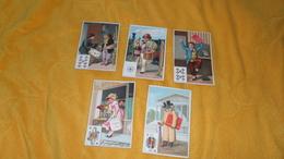 LOT DE 5 CHROMOS UNIFACES DATE ?. / QUI ME SURPREND ?. /. QUI M'AIME. / QUI ME CHERII. / CE QUI FAIT MON BONHEUR... - Trade Cards