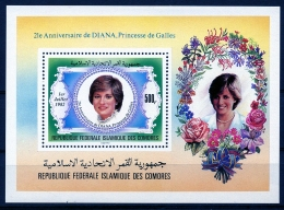 Comoro Islands, Comores, 1982, 21st Birthday Of Lady Di, Princess Diana, Royal, MNH, Michel Block 231 - Comores (1975-...)
