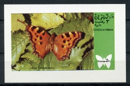 Oman, State Of Oman, Butterflies, MNH Imperforated Cinderella Sheet - Oman