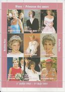 Burkina Faso  1997  Lady Diana  Famous Women  Royalty  9v  Sheet  # 91552 - Famous Ladies