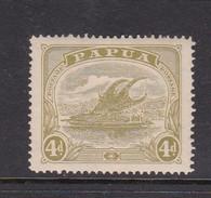 Papua SG 88 1911-15 Lakatoi 4d Pale Olive-green Mint Hinged - Papouasie-Nouvelle-Guinée