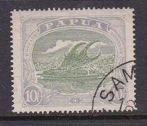 Papua SG 105 1916-31 Lakatoi 10 Shillings Green And ;pale Ultramarine Used - Papua New Guinea
