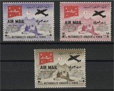 YEMEN (ROYALIST), RARE SET 1964, 3 AIRMAILS, RED CROSS OVERPRINTS MNH / NSCH / ** - Yémen