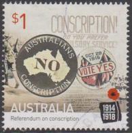 "AUSTRALIA - USED 2016 $1.00 Centenary Of World War I: 1916 ""NO"" TO Conscription - 2010-... Elizabeth II"