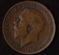 1912 Great Britain George V One Farthing VF- EF - 1902-1971 : Post-Victorian Coins