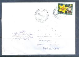 D560- Used Cover Post To Pakistan From Romania. Flowers. Clock. - Romania