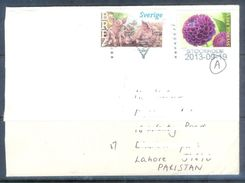 D569- Used Cover Post To Pakistan From Sweden. Sverige. Flowers. Animals. Pig - Sweden