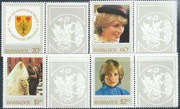 Barbados  1982    Sc#585-8  Diana Set  MNH**   2016 Scott Value $3.40 - Barbados (1966-...)