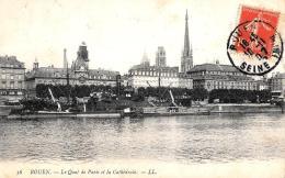 [DC10427] CPA - FRANCIA - ROUEN - LE QUAI DE PARIS ET LA CATHEDRALE - Viaggiata - Old Postcard - Rouen